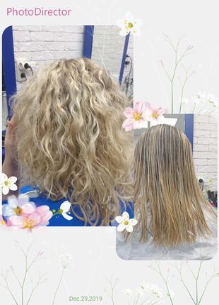 Завивка на блонд, с реконструкцией волос.