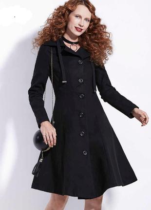 Брендовое черное демисезонное шерстяное пальто с карманами bet...