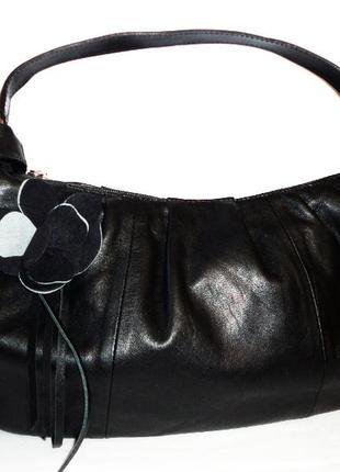 Кожаная сумка 43х24см ручка 45см натуральная кожа