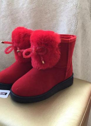 Sale красные сапоги ботинки угги на девочку зимние теплые