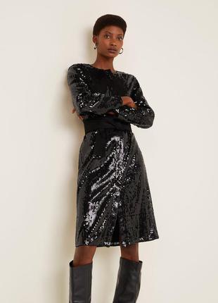 Потрясающее платье рубашка в паетки от mango коллекция 2019/2020