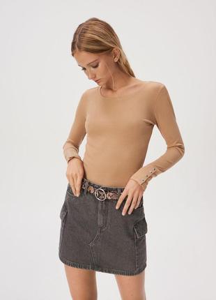Новая песочная кофта бежевый лонгслив коричневая блузка заклеп...