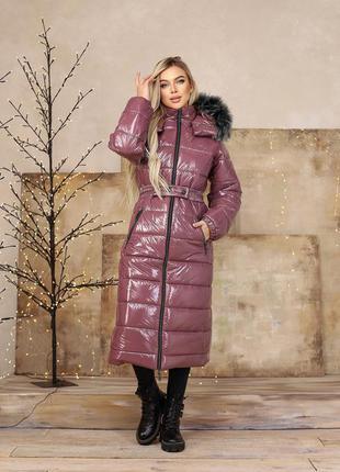 Куртка женская длинная теплая пальто зима плащевка на силиконе...