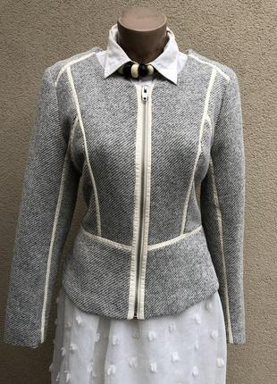 Фактурный жакет(пиджак) на молнии с белой кожаной окантовкой (...