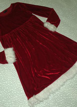 Нарядное велюровое платье 10-12 лет