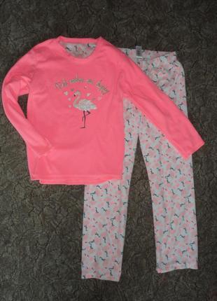 Теплая пижама флисовая розовый фламинго
