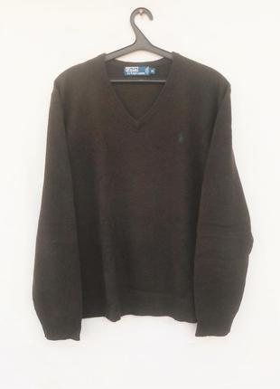 Шерстяной теплый свитер с длинным рукавом polo ralph lauren