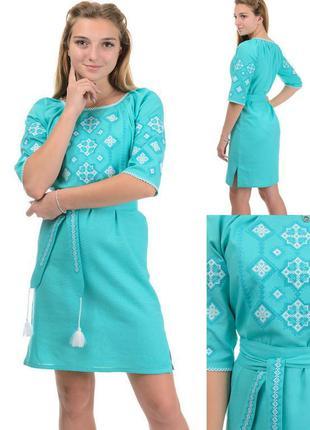 Нарядное женское платье-туника вышиванка,рубаха под пояс в укр...