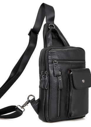 Мужской рюкзак слинг кожаный на одну шлейку лямку практичный с...
