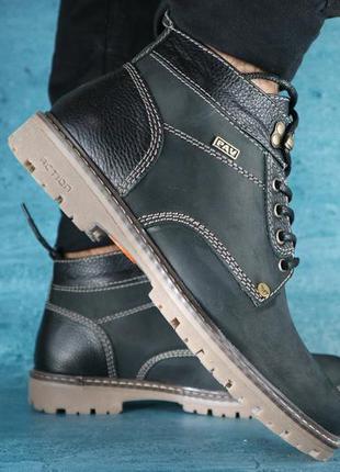 Мужские ботинки нубуковые зимние черные pav 9665