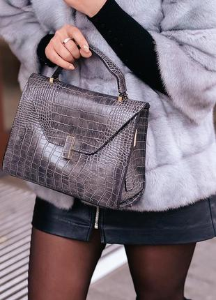Серый клатч бочонок рептилия сумка кросс боди