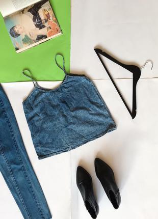 🔻🔻🔻 стильная джинсовая майка на тонких бретелях denim co. нюансик