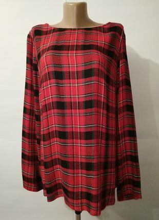Натуральная модная блуза вафельная драпировка клетка запахом п...