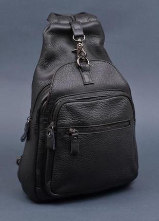 Компактный рюкзак слинг на одну шлейку лямку кожаный мужской с...