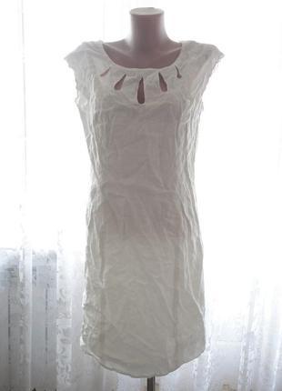 Белое платье next лён р.10  (ог 92, т.76, б.92, дл.90)