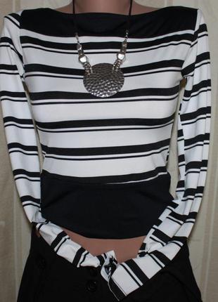 Кофта блузка чёрно-белая стрейч xs/s