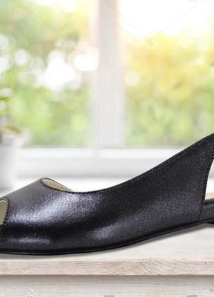 Летние кожаные босоножки. черные. 23.5 см