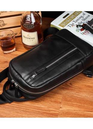 Мужской рюкзак слинг мессенджер на одну шлейку лямку кожаный