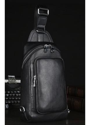 Рюкзак слинг мессенджер на одну шлейку лямку мужской кожаный с...