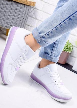 Кроссовки женские белые + лиловый