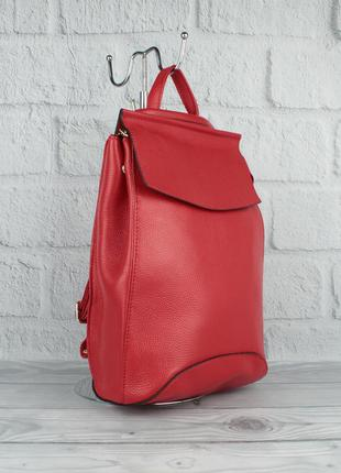 Кожаный городской рюкзак-сумка valensiy 83003 красного цвета