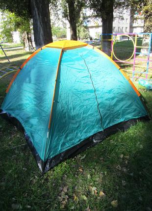 Палатка туристическая летняя трёхместная 2.1х2.1х1.3м