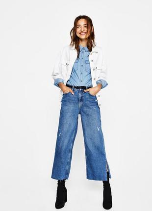 Трендовые укороченные джинсы кюлоты высокая посадка твердый пл...