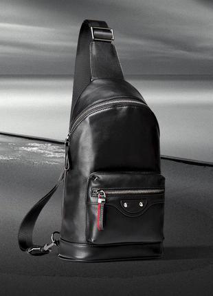 Мужской рюкзак слинг мессенджер кожаный на одну шлейку лямку с...