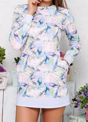 Платье толстовка свободного кроя с карманами molegi