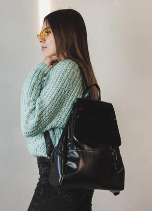 Стильный женский вместительный рюкзак из эко-кожи