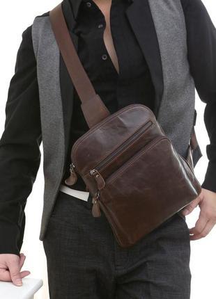 Мужской слинг мессенджер рюкзак на одну шлейку лямку кожаный к...