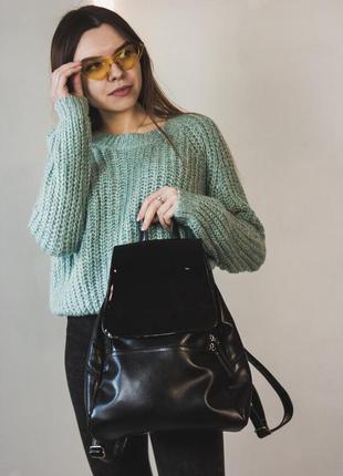 Стильный женский черный вместительный рюкзак из эко-кожи
