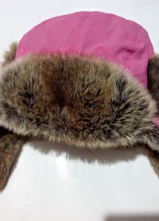 Тёплая,зимняя шапка -ушанка с мехом barts