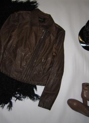 Крутая коричнево-рыжая куртка косуха кожзам молнии