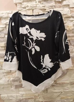 Блуза красивая в цветы с асимметричным низом