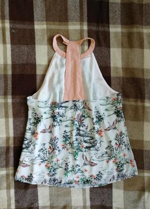 Нежная блуза в журавликах от h&m