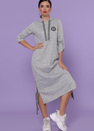 Платье женское теплое ангорка серого цвета, платье c капюшоном