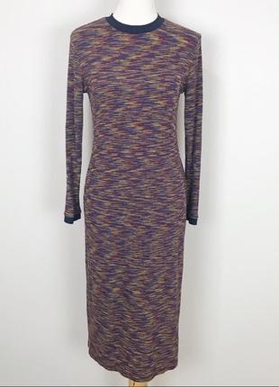 Многоцветное трикотажное платье-макси в рубчик asos