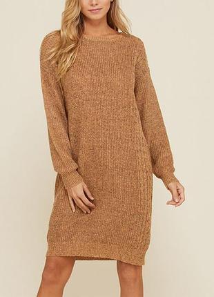 Теплое вязаное платье туника песочного цвета primark