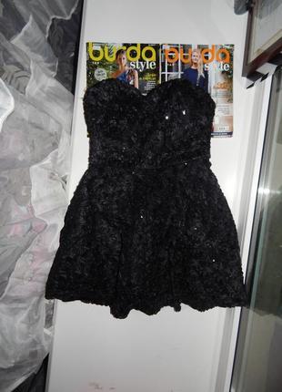 Черное платье с корсетом goddess london