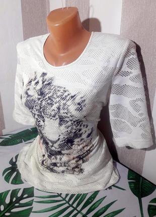 Распродажа футболка белый камуфляж с тигром