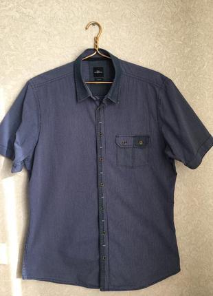 Мужская  фирменная рубашка на коротком рукаве, slim fit. германия