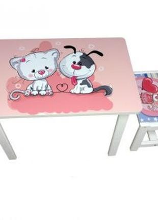 Детский стол и 2 стула BSM2K-101 cat and dog - кот и собачка