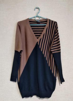 Шерстяная кофта свитер пуловер джемпер удлиненный туника шерст...