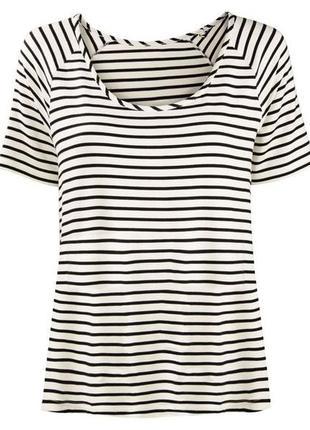 Новая полосатая широкая белая футболка esmara xs 32/34