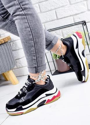 ❤ женские черные кроссовки эко-кожа+эко-замша ❤