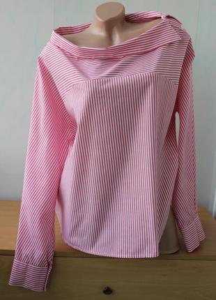 Блуза  в полоску оверсайз с необычным воротником new look