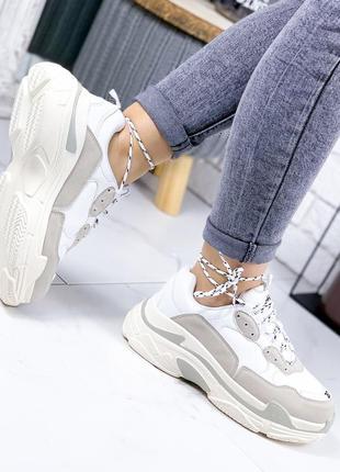 ❤ женские белые кроссовки эко - кожа + эко - замша ❤