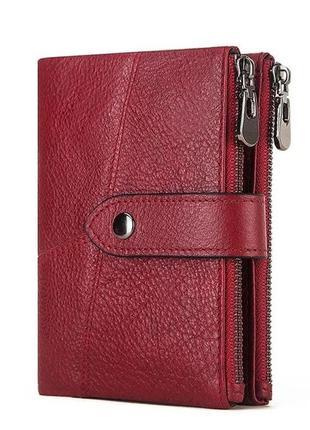 Кожаный женский бордовый кошелек натуральная кожа