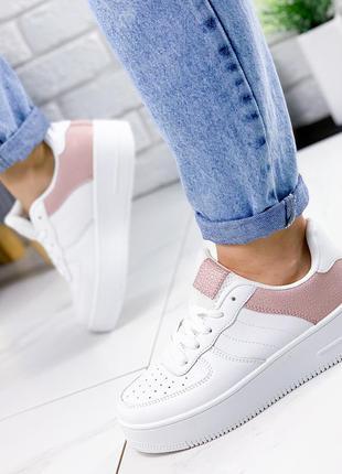❤ женские белые кроссовки  эко-кожа+текстиль  ❤